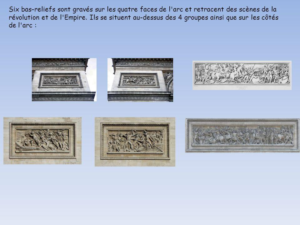Six bas-reliefs sont gravés sur les quatre faces de l arc et retracent des scènes de la révolution et de l Empire.