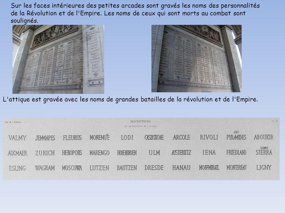 Sur les faces intérieures des petites arcades sont gravés les noms des personnalités de la Révolution et de l Empire.