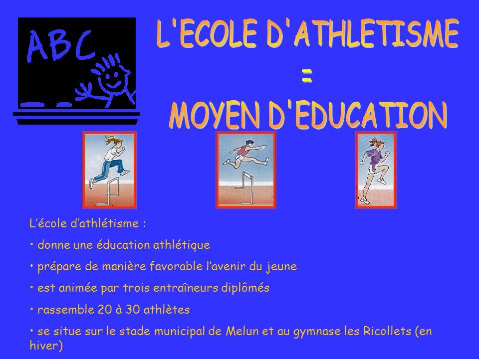 L'école d'athlétisme : donne une éducation athlétique prépare de manière favorable l'avenir du jeune est animée par trois entraîneurs diplômés rassemble 20 à 30 athlètes se situe sur le stade municipal de Melun et au gymnase les Ricollets (en hiver)