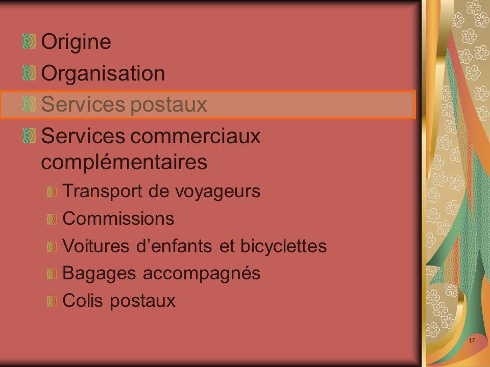17 Origine Organisation Services postaux Services commerciaux complémentaires Transport de voyageurs Commissions Voitures d'enfants et bicyclettes Bag