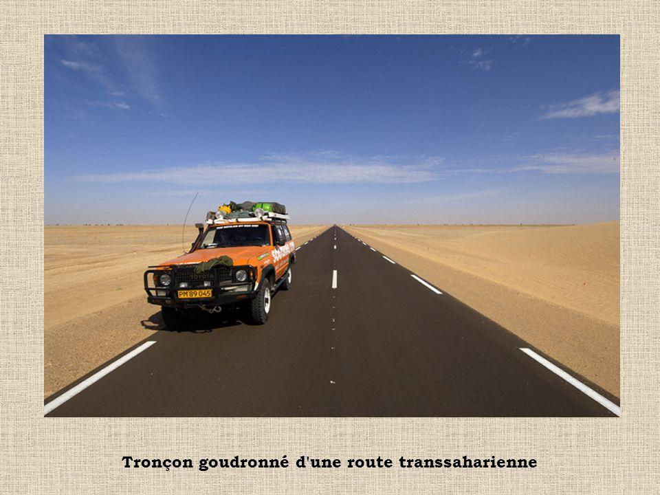 Près de l oasis de Koufra en Libye, les camions tout terrain remplacent aujourd hui les dromadaires pour transporter migrants et marchandises