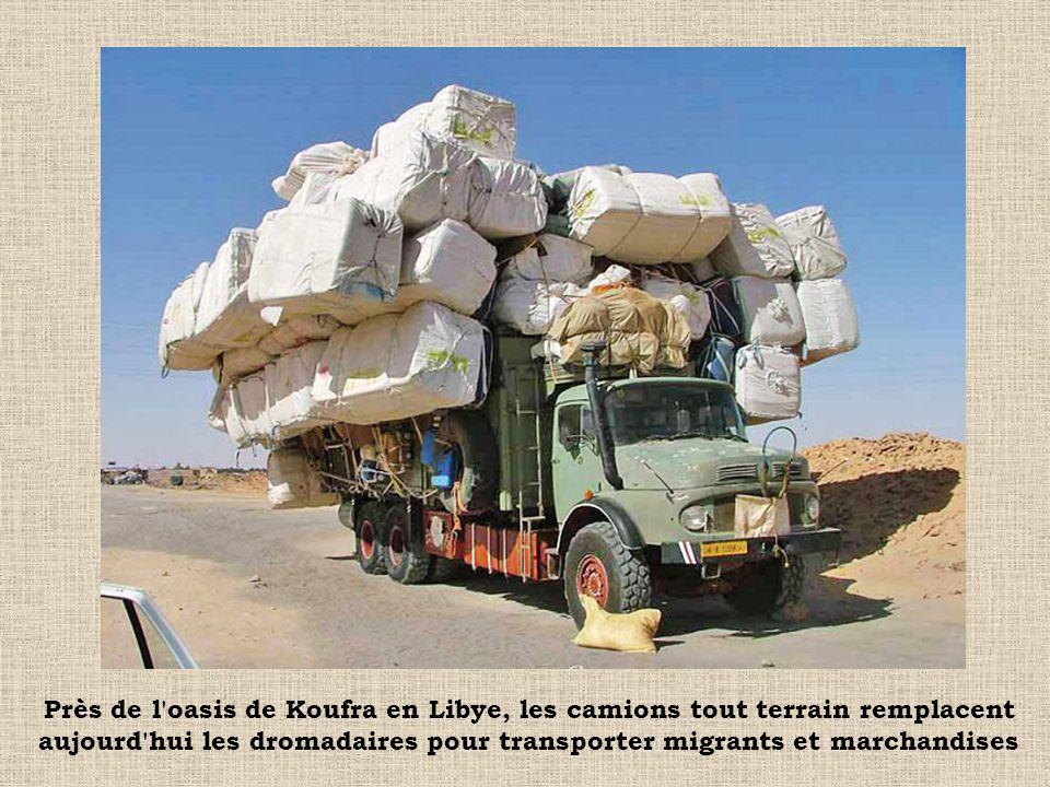 Près de l'oasis de Koufra en Libye, les camions tout terrain remplacent aujourd'hui les dromadaires pour transporter migrants et marchandises