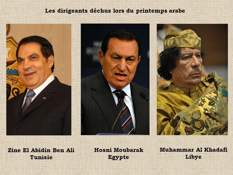 Muhammar Al Khadafi Libye Zine El Abidin Ben Ali Tunisie Hosni Moubarak Egypte Les dirigeants déchus lors du printemps arabe