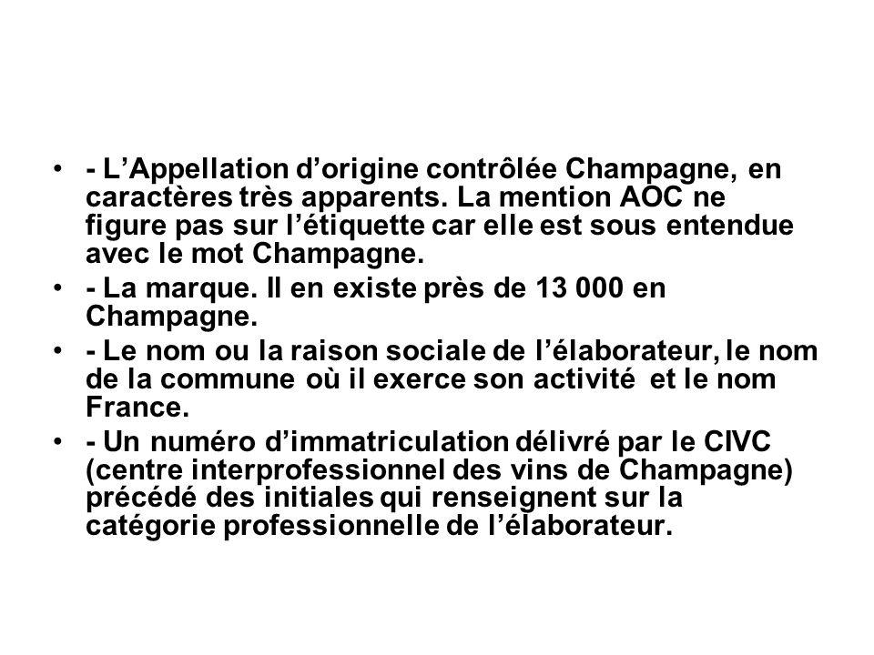 - L'Appellation d'origine contrôlée Champagne, en caractères très apparents. La mention AOC ne figure pas sur l'étiquette car elle est sous entendue a