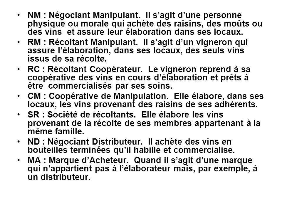 NM : Négociant Manipulant. Il s'agit d'une personne physique ou morale qui achète des raisins, des moûts ou des vins et assure leur élaboration dans s