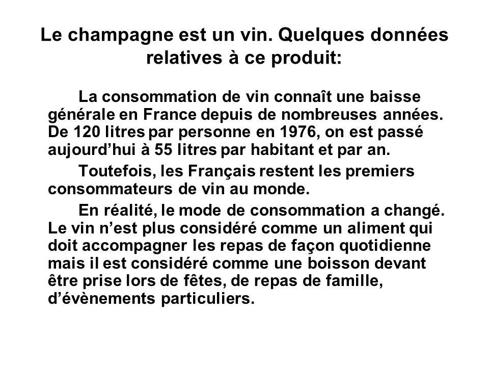 Le champagne est un vin. Quelques données relatives à ce produit: La consommation de vin connaît une baisse générale en France depuis de nombreuses an