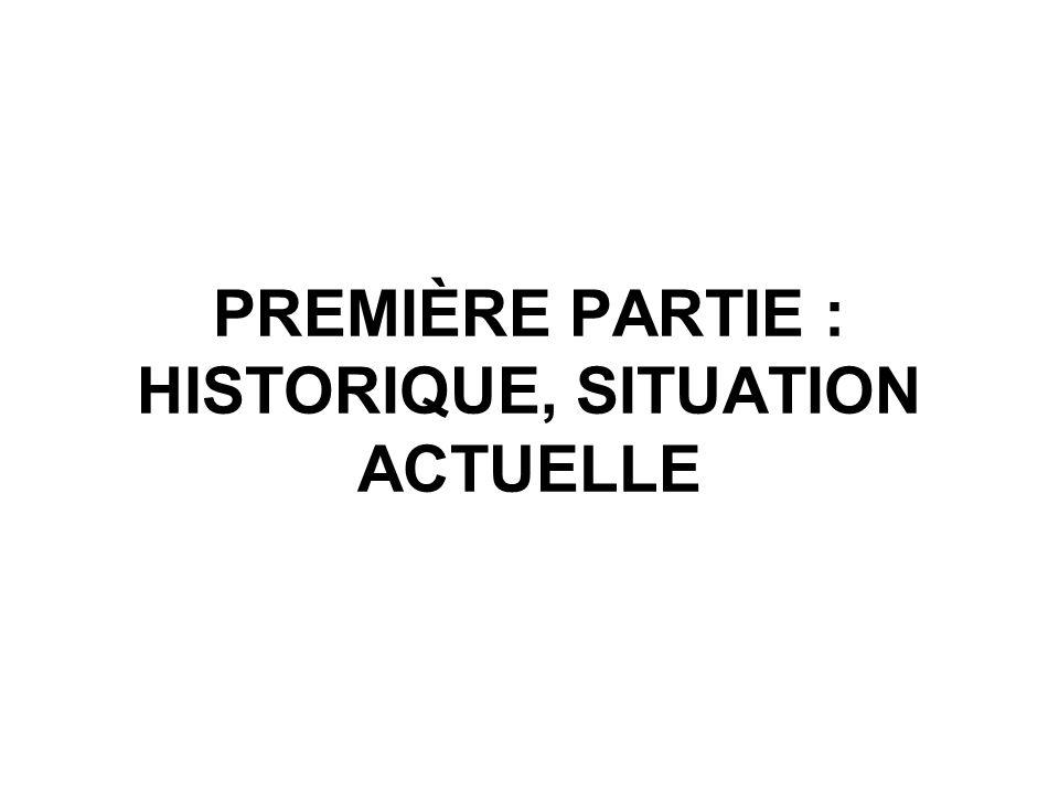 PREMIÈRE PARTIE : HISTORIQUE, SITUATION ACTUELLE