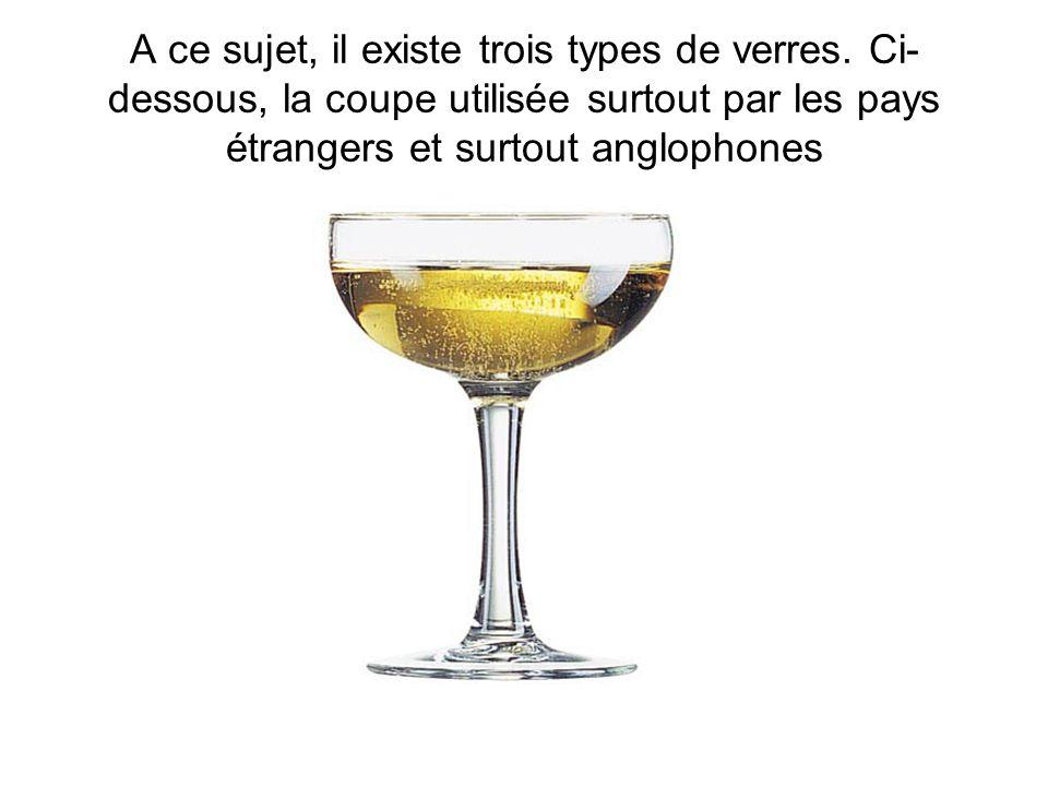 A ce sujet, il existe trois types de verres. Ci- dessous, la coupe utilisée surtout par les pays étrangers et surtout anglophones