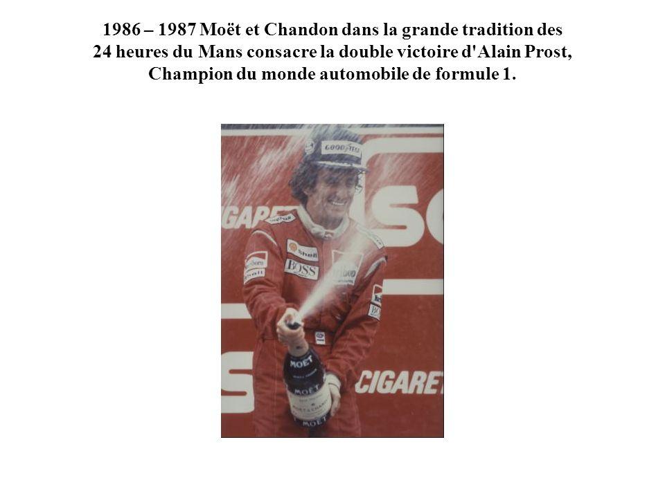 1986 – 1987 Moët et Chandon dans la grande tradition des 24 heures du Mans consacre la double victoire d'Alain Prost, Champion du monde automobile de