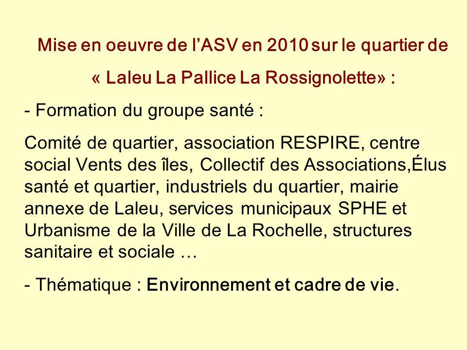 Mise en oeuvre de l'ASV en 2010 sur le quartier de « Laleu La Pallice La Rossignolette» : - Formation du groupe santé : Comité de quartier, associatio