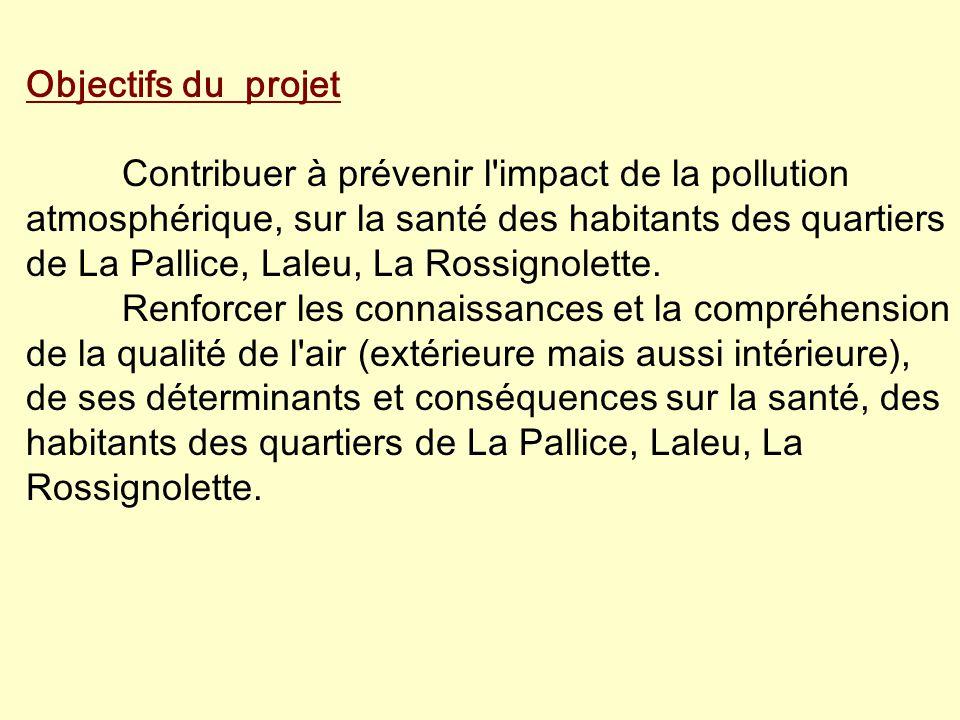Objectifs du projet Contribuer à prévenir l impact de la pollution atmosphérique, sur la santé des habitants des quartiers de La Pallice, Laleu, La Rossignolette.
