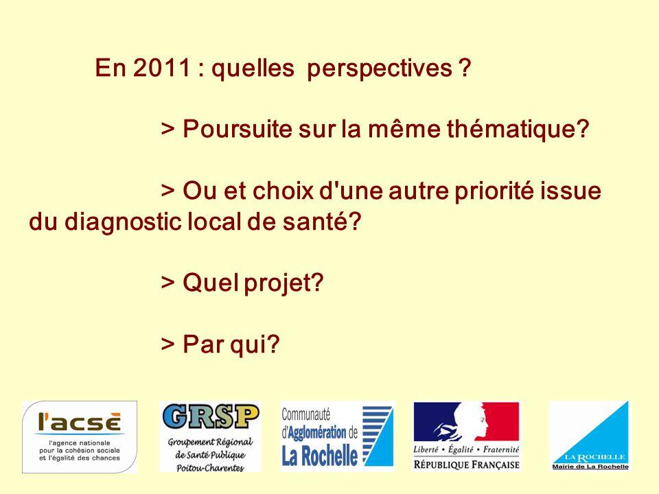 En 2011 : quelles perspectives ? > Poursuite sur la même thématique? > Ou et choix d'une autre priorité issue du diagnostic local de santé? > Quel pro