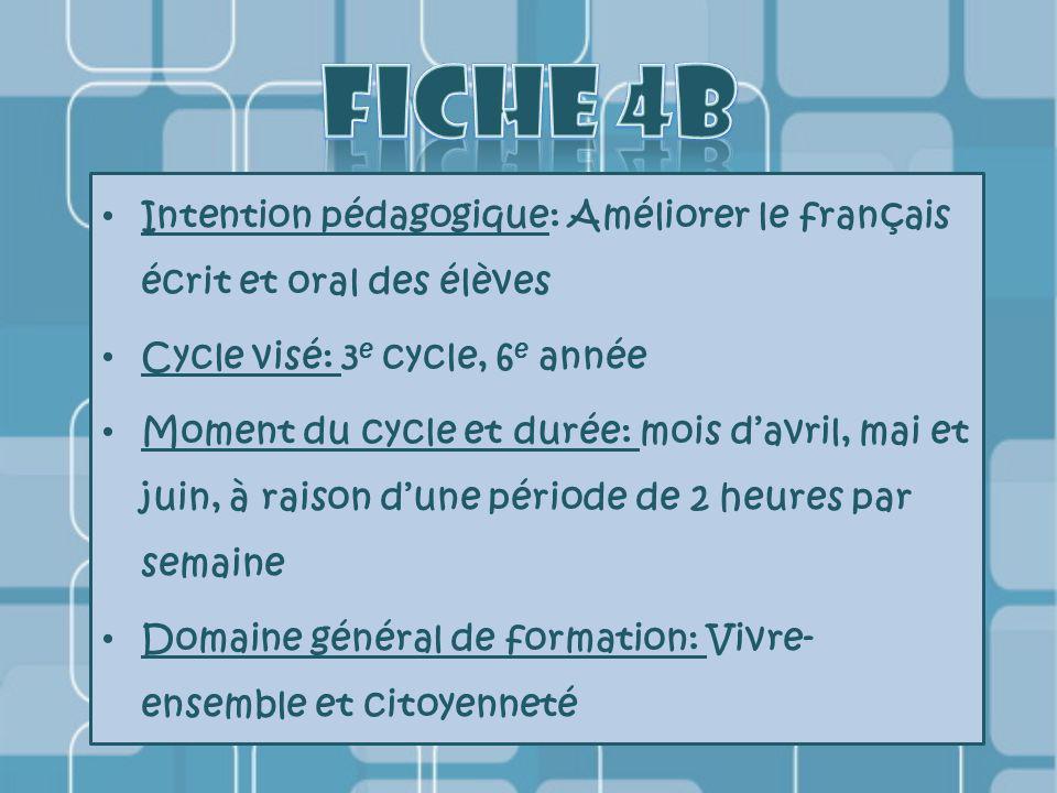 Intention pédagogique: Améliorer le français écrit et oral des élèves Cycle visé: 3 e cycle, 6 e année Moment du cycle et durée: mois d'avril, mai et juin, à raison d'une période de 2 heures par semaine Domaine général de formation: Vivre- ensemble et citoyenneté