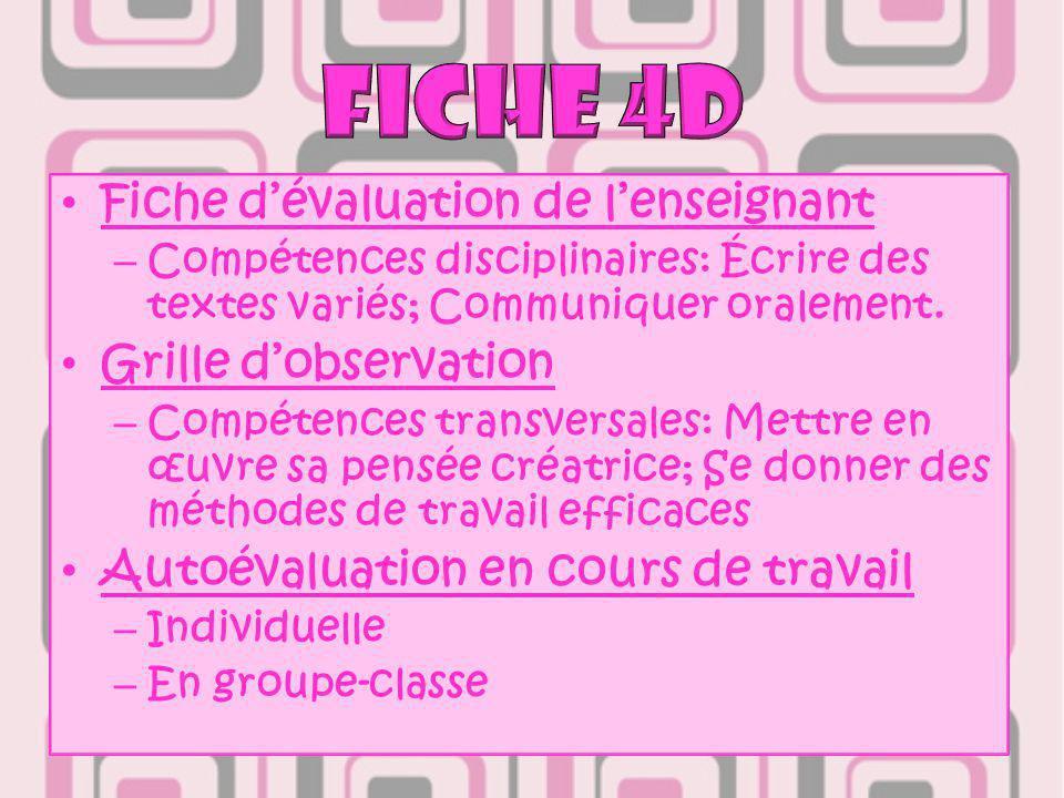 Fiche d'évaluation de l'enseignant – Compétences disciplinaires: Écrire des textes variés; Communiquer oralement.