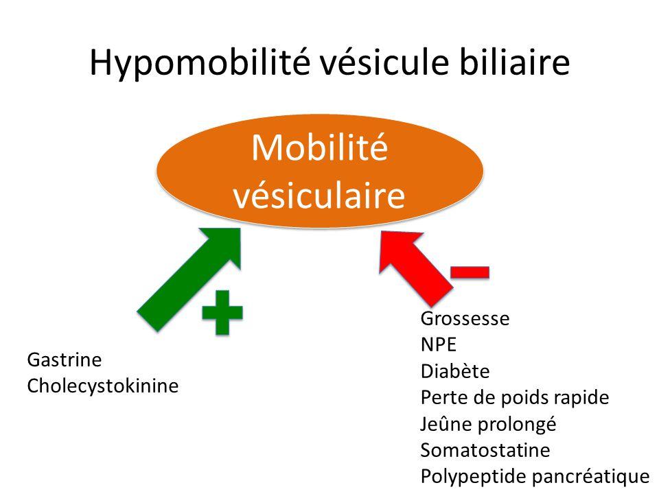 Hypomobilité vésicule biliaire Mobilité vésiculaire Grossesse NPE Diabète Perte de poids rapide Jeûne prolongé Somatostatine Polypeptide pancréatique