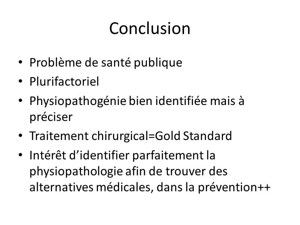 Conclusion Problème de santé publique Plurifactoriel Physiopathogénie bien identifiée mais à préciser Traitement chirurgical=Gold Standard Intérêt d'i