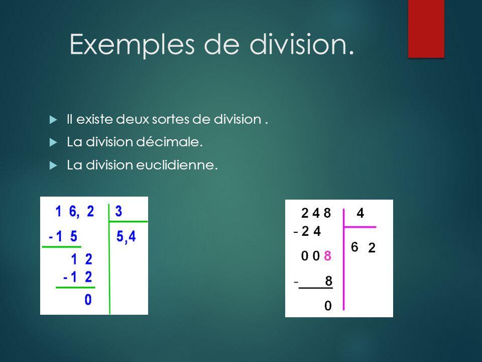 Exemples de division.  Il existe deux sortes de division.  La division décimale.  La division euclidienne.