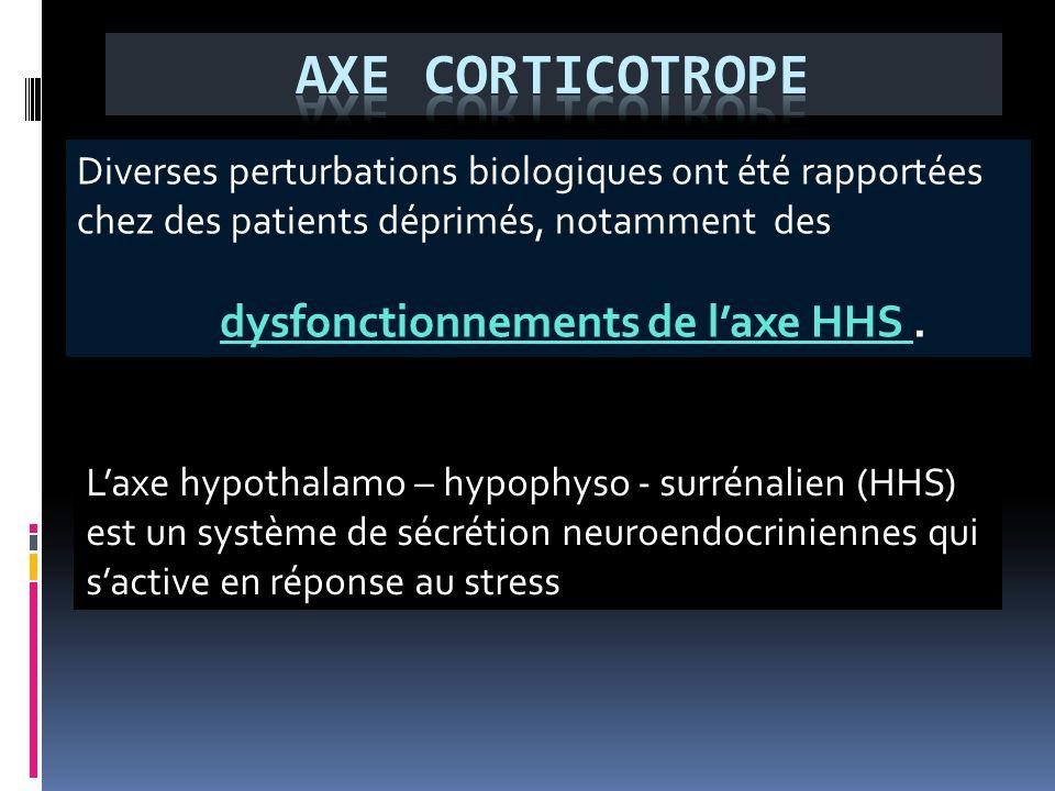 L'axe hypothalamo – hypophyso - surrénalien (HHS) est un système de sécrétion neuroendocriniennes qui s'active en réponse au stress Diverses perturbat