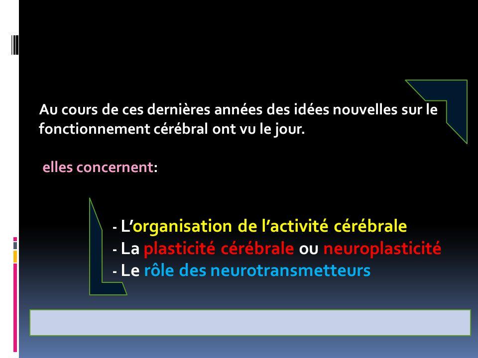 Au cours de ces dernières années des idées nouvelles sur le fonctionnement cérébral ont vu le jour. elles concernent: - L'organisation de l'activité c
