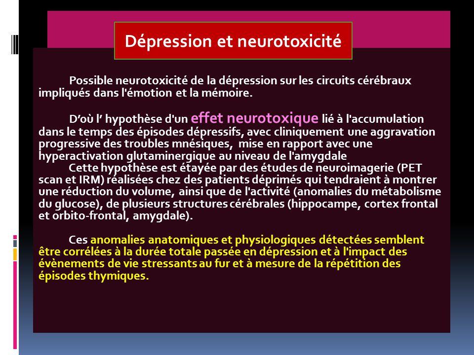 Possible neurotoxicité de la dépression sur les circuits cérébraux impliqués dans l'émotion et la mémoire. D'où l' hypothèse d'un effet neurotoxique l