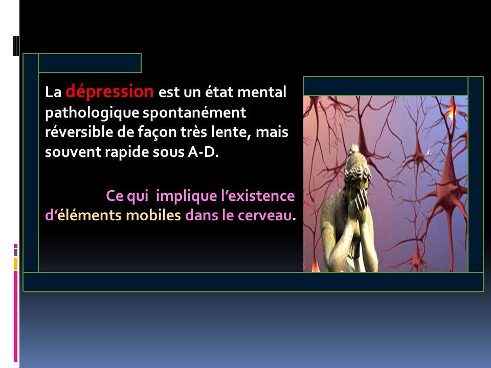 La dépression est un état mental pathologique spontanément réversible de façon très lente, mais souvent rapide sous A-D. Ce qui implique l'existence d