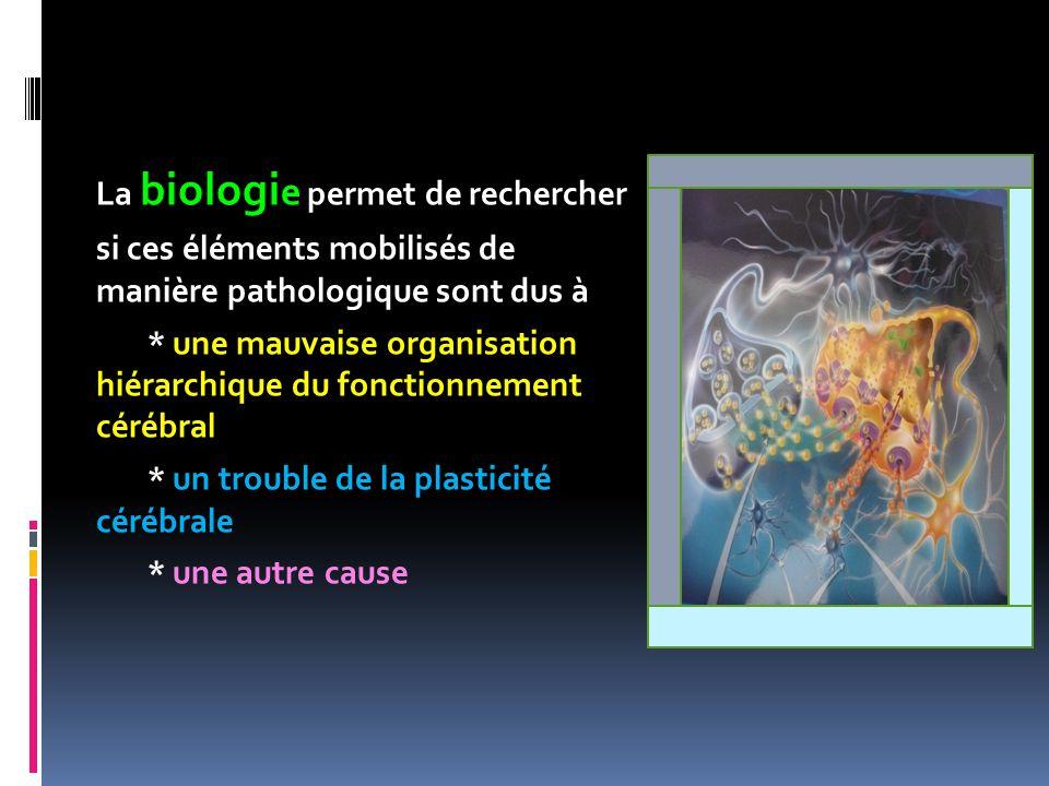 La biologi e permet de rechercher si ces éléments mobilisés de manière pathologique sont dus à * une mauvaise organisation hiérarchique du fonctionnem