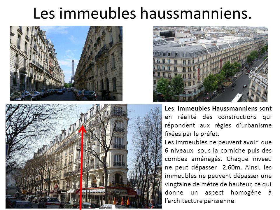 Les immeubles haussmanniens. Les immeubles Haussmanniens sont en réalité des constructions qui répondent aux règles d'urbanisme fixées par le préfet.