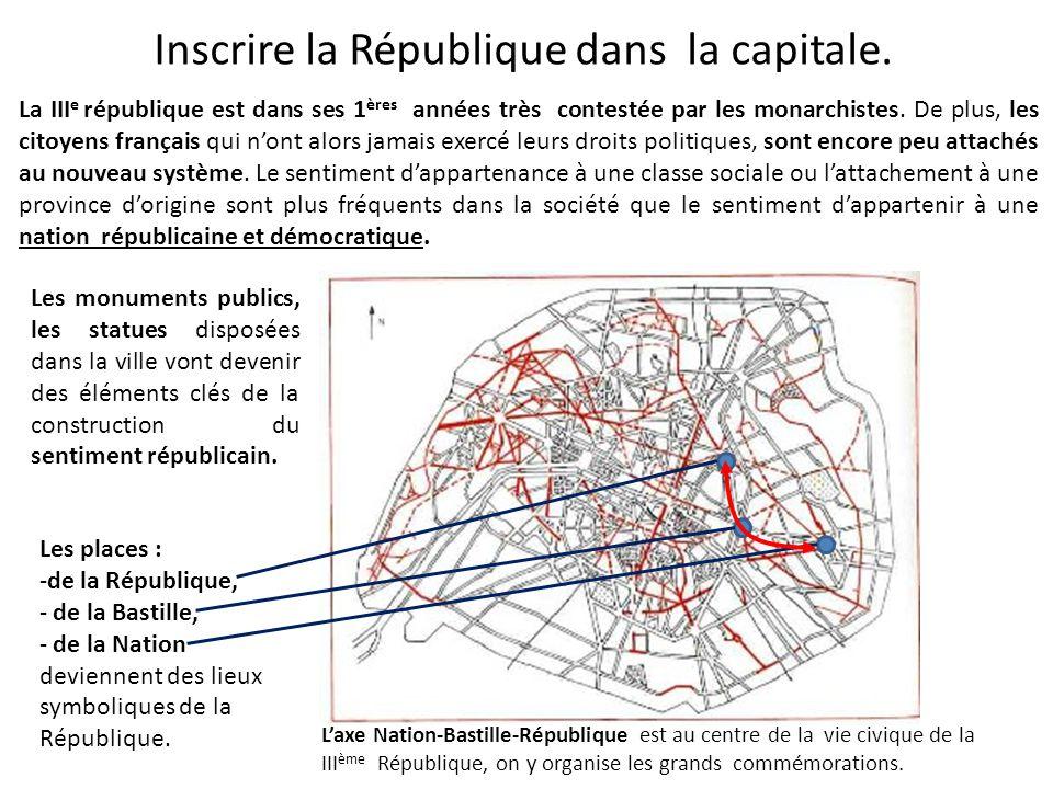 Inscrire la République dans la capitale. La III e république est dans ses 1 ères années très contestée par les monarchistes. De plus, les citoyens fra