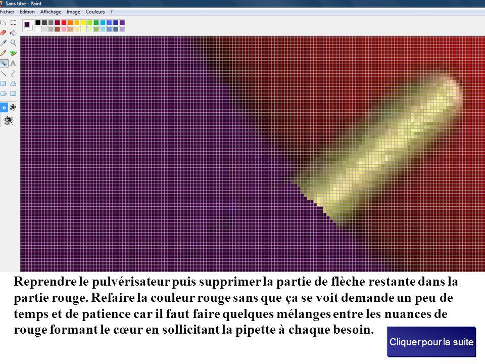 Dès qu'on approche le cœur, on prend le crayon puis on colore pixel par pixel, de manière à avoir plus de précision Cliquer pour la suite