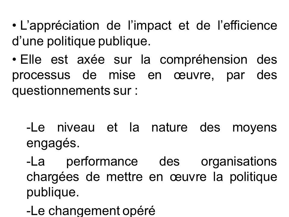 L'appréciation de l'impact et de l'efficience d'une politique publique. Elle est axée sur la compréhension des processus de mise en œuvre, par des que