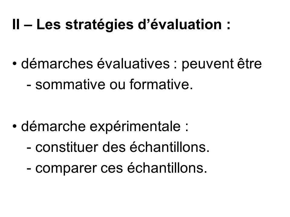 II – Les stratégies d'évaluation : démarches évaluatives : peuvent être - sommative ou formative. démarche expérimentale : - constituer des échantillo
