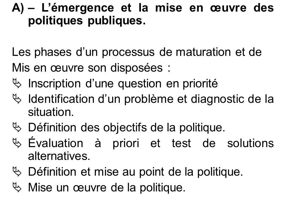 A)– L'émergence et la mise en œuvre des politiques publiques. Les phases d'un processus de maturation et de Mis en œuvre son disposées :  Inscription