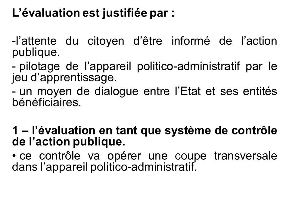 L'évaluation est justifiée par : -l'attente du citoyen d'être informé de l'action publique. - pilotage de l'appareil politico-administratif par le jeu