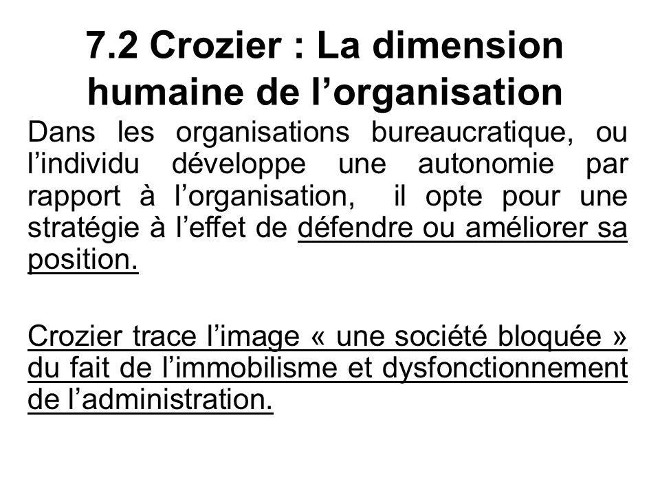7.2 Crozier : La dimension humaine de l'organisation Dans les organisations bureaucratique, ou l'individu développe une autonomie par rapport à l'organisation, il opte pour une stratégie à l'effet de défendre ou améliorer sa position.