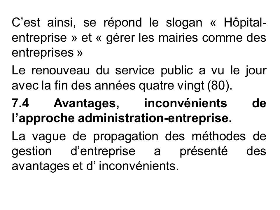 C'est ainsi, se répond le slogan « Hôpital- entreprise » et « gérer les mairies comme des entreprises » Le renouveau du service public a vu le jour avec la fin des années quatre vingt (80).