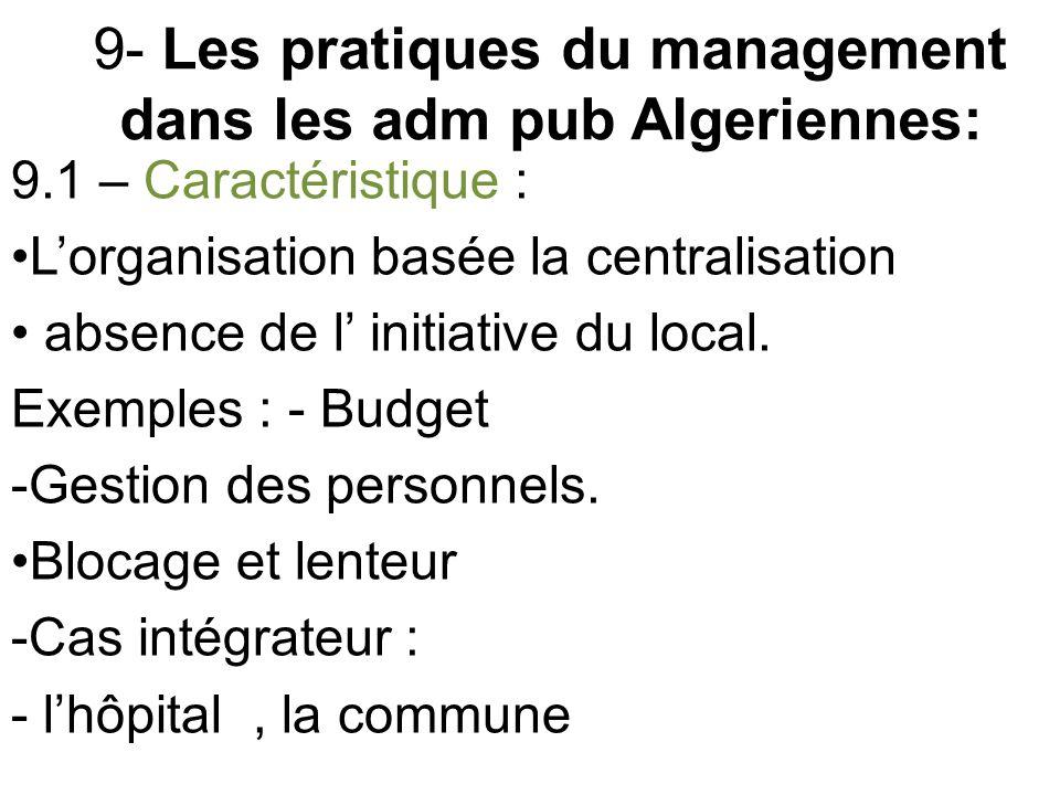 9- Les pratiques du management dans les adm pub Algeriennes: 9.1 – Caractéristique : L'organisation basée la centralisation absence de l' initiative du local.