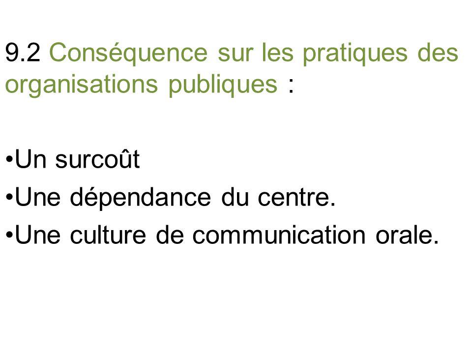 9.2 Conséquence sur les pratiques des organisations publiques : Un surcoût Une dépendance du centre.