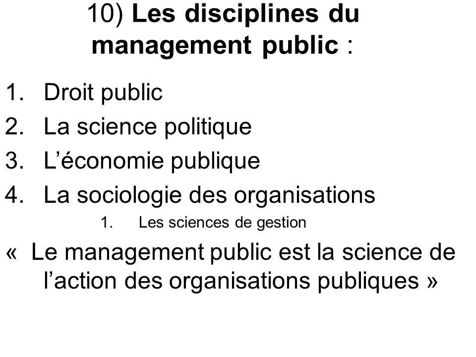 10) Les disciplines du management public : 1. Droit public 2.