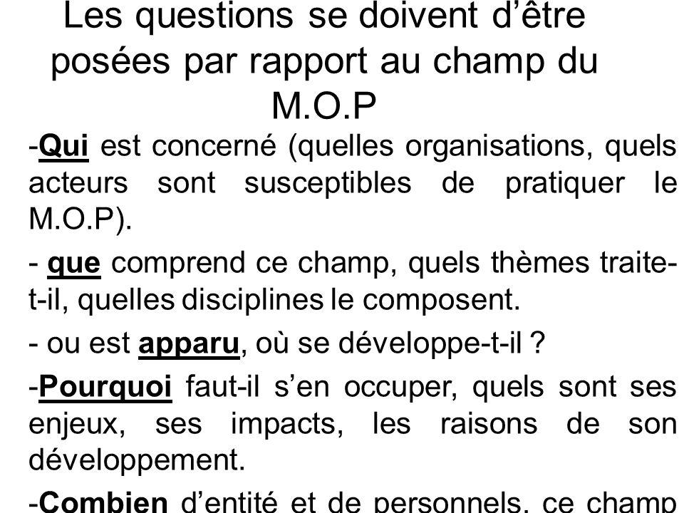 Les questions se doivent d'être posées par rapport au champ du M.O.P -Qui est concerné (quelles organisations, quels acteurs sont susceptibles de pratiquer le M.O.P).