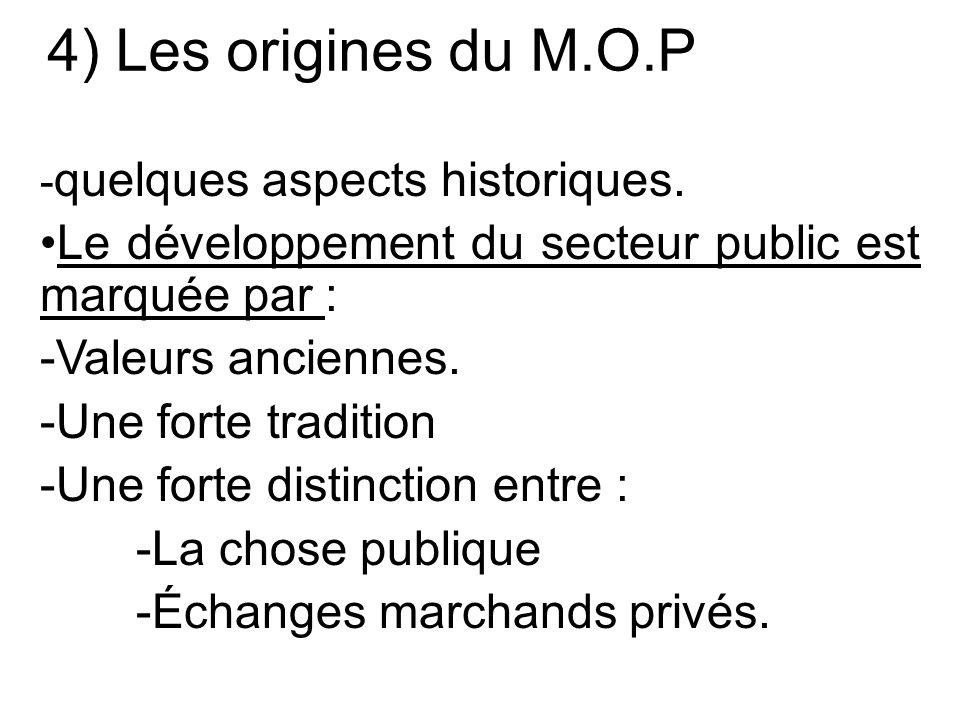 4) Les origines du M.O.P - quelques aspects historiques.