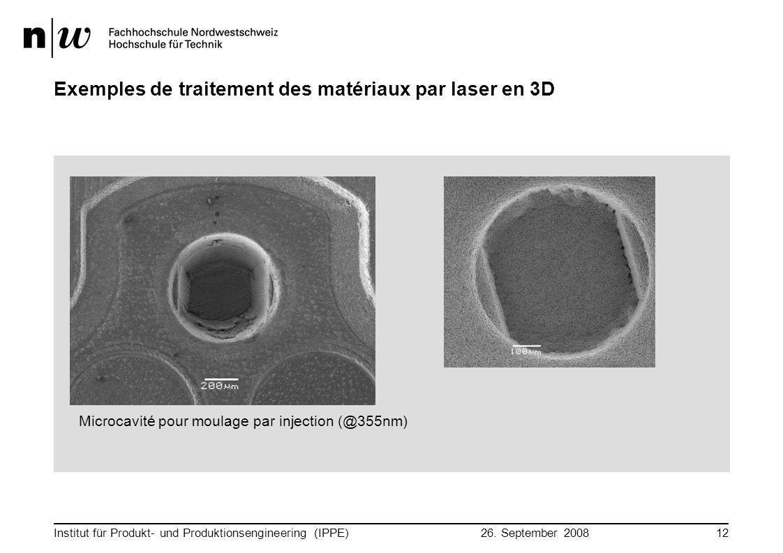 26. September 2008 Institut für Produkt- und Produktionsengineering (IPPE)12 Exemples de traitement des matériaux par laser en 3D Microcavité pour mou
