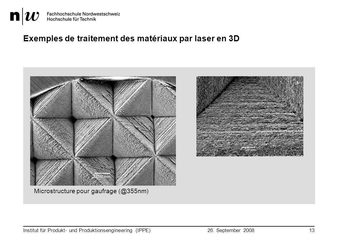 26. September 2008 Institut für Produkt- und Produktionsengineering (IPPE)13 Exemples de traitement des matériaux par laser en 3D Microstructure pour