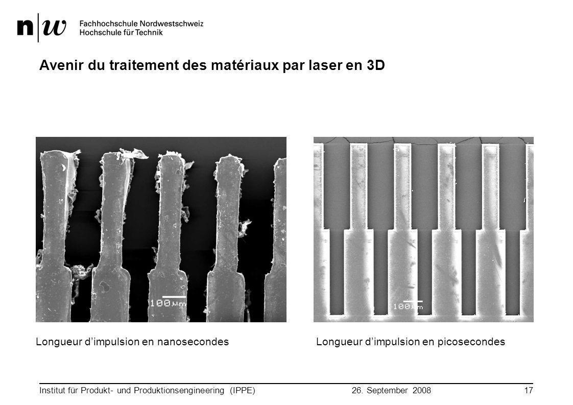26. September 2008 Institut für Produkt- und Produktionsengineering (IPPE)17 Avenir du traitement des matériaux par laser en 3D Longueur d'impulsion e