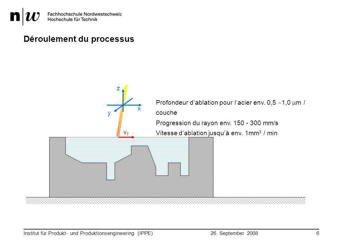 26. September 2008 Institut für Produkt- und Produktionsengineering (IPPE)6 Déroulement du processus y x z Profondeur d'ablation pour l'acier env. 0,5