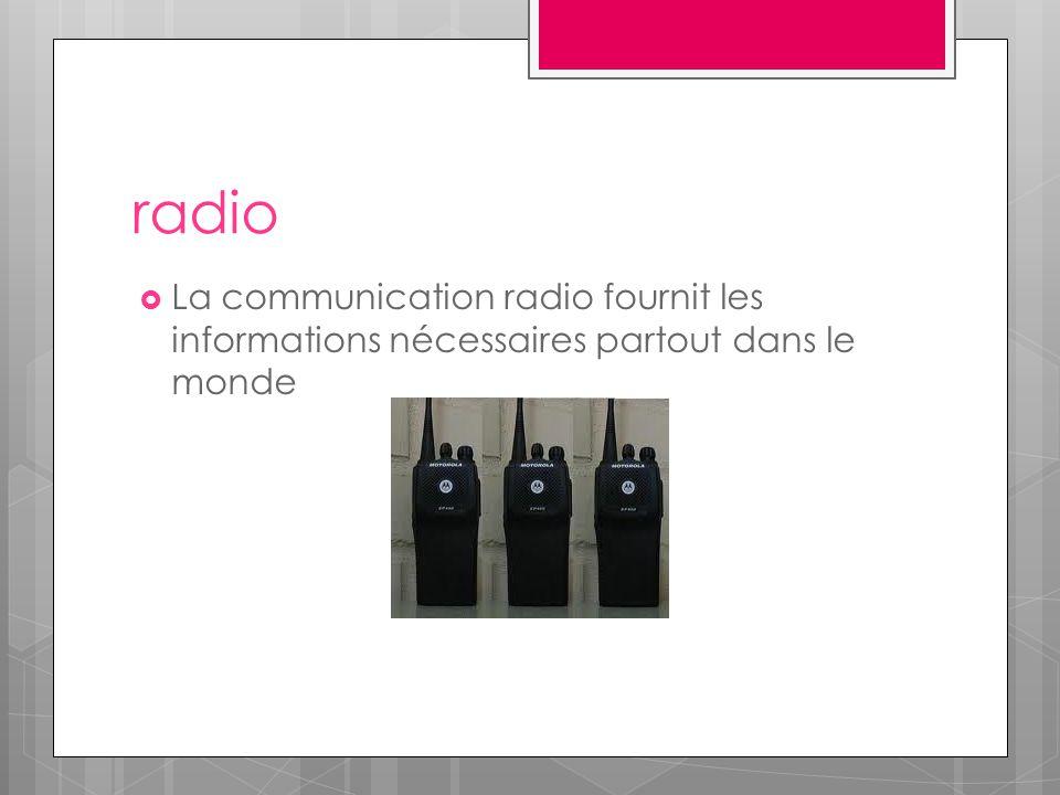 radio  La communication radio fournit les informations nécessaires partout dans le monde