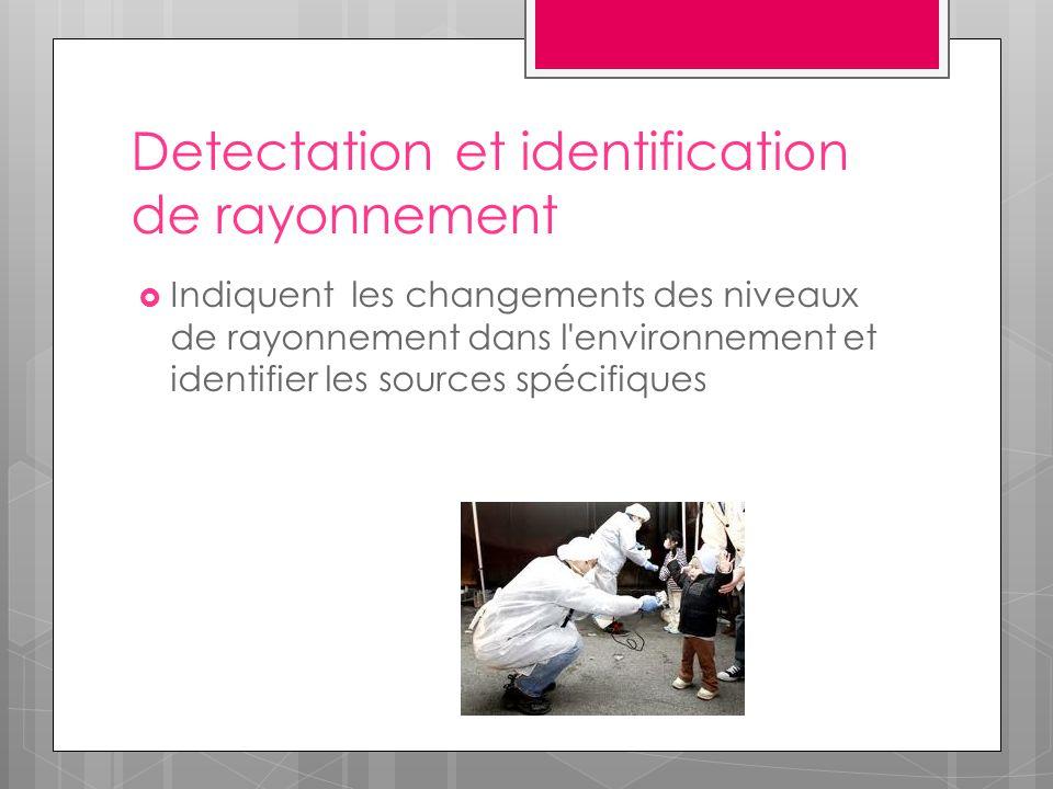 Detectation et identification de rayonnement  Indiquent les changements des niveaux de rayonnement dans l'environnement et identifier les sources spé
