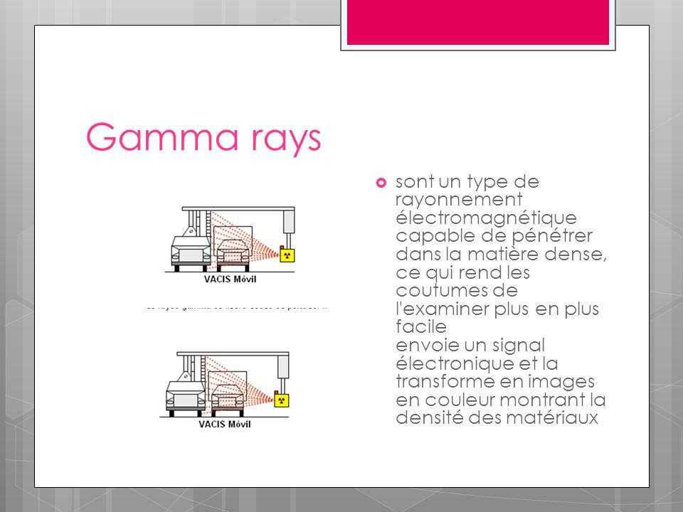 Gamma rays  sont un type de rayonnement électromagnétique capable de pénétrer dans la matière dense, ce qui rend les coutumes de l examiner plus en plus facile envoie un signal électronique et la transforme en images en couleur montrant la densité des matériaux