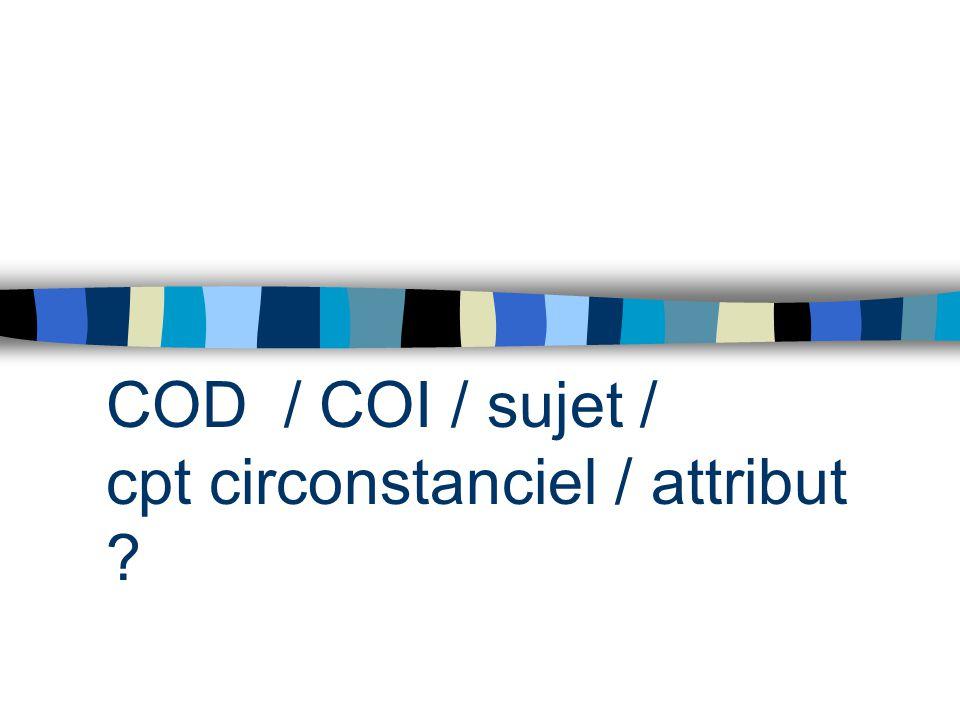COD / COI / sujet / cpt circonstanciel / attribut ?