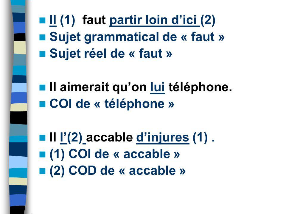 Il (1) faut partir loin d'ici (2) Sujet grammatical de « faut » Sujet réel de « faut » Il aimerait qu'on lui téléphone.