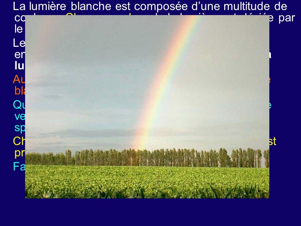 La lumière blanche est composée d'une multitude de couleurs. Chaque couleur de la lumière est déviée par le prisme avec un angle de réfraction différe